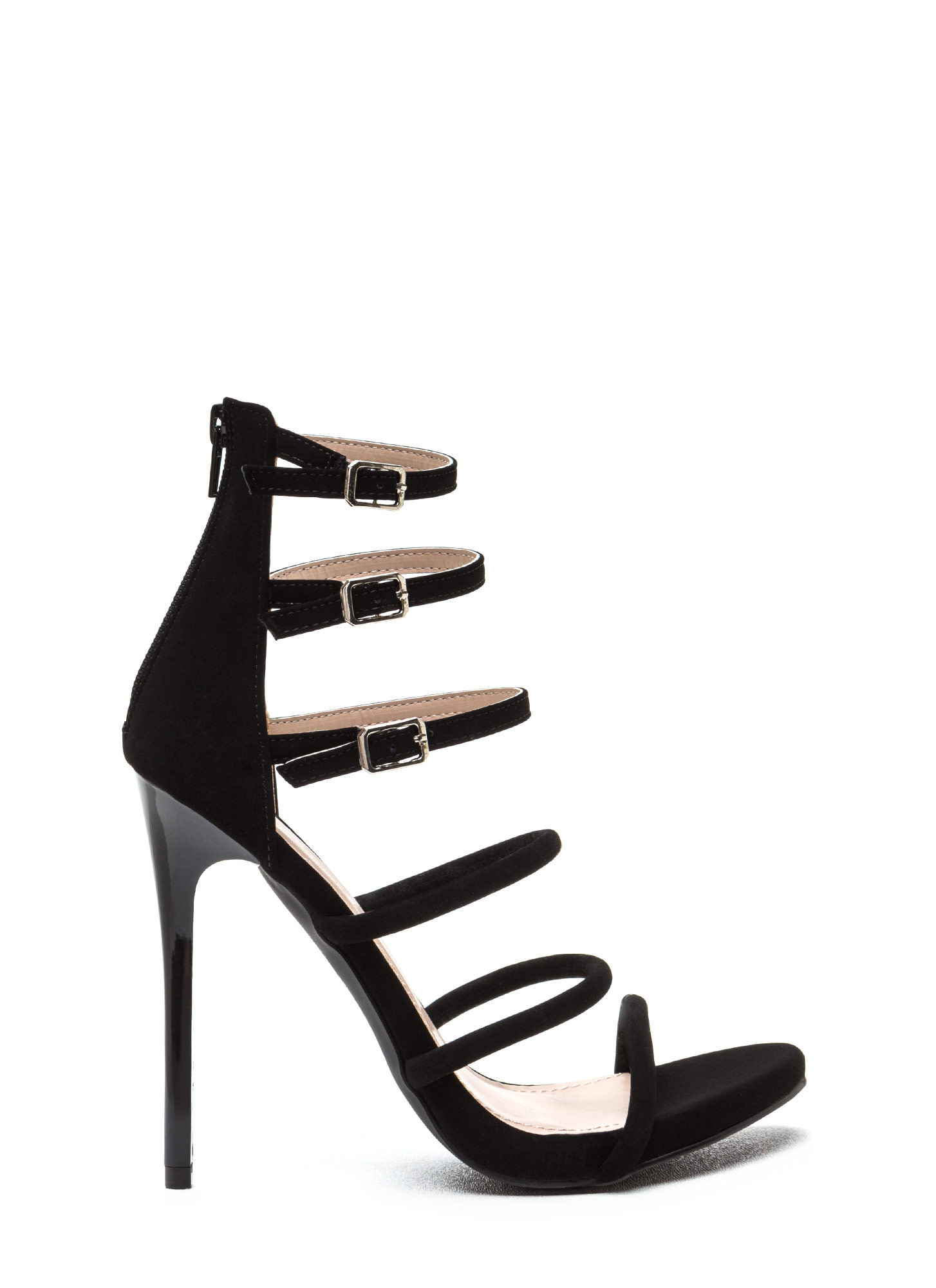 Six 'N Match Caged Faux Nubuck Heels BLACK