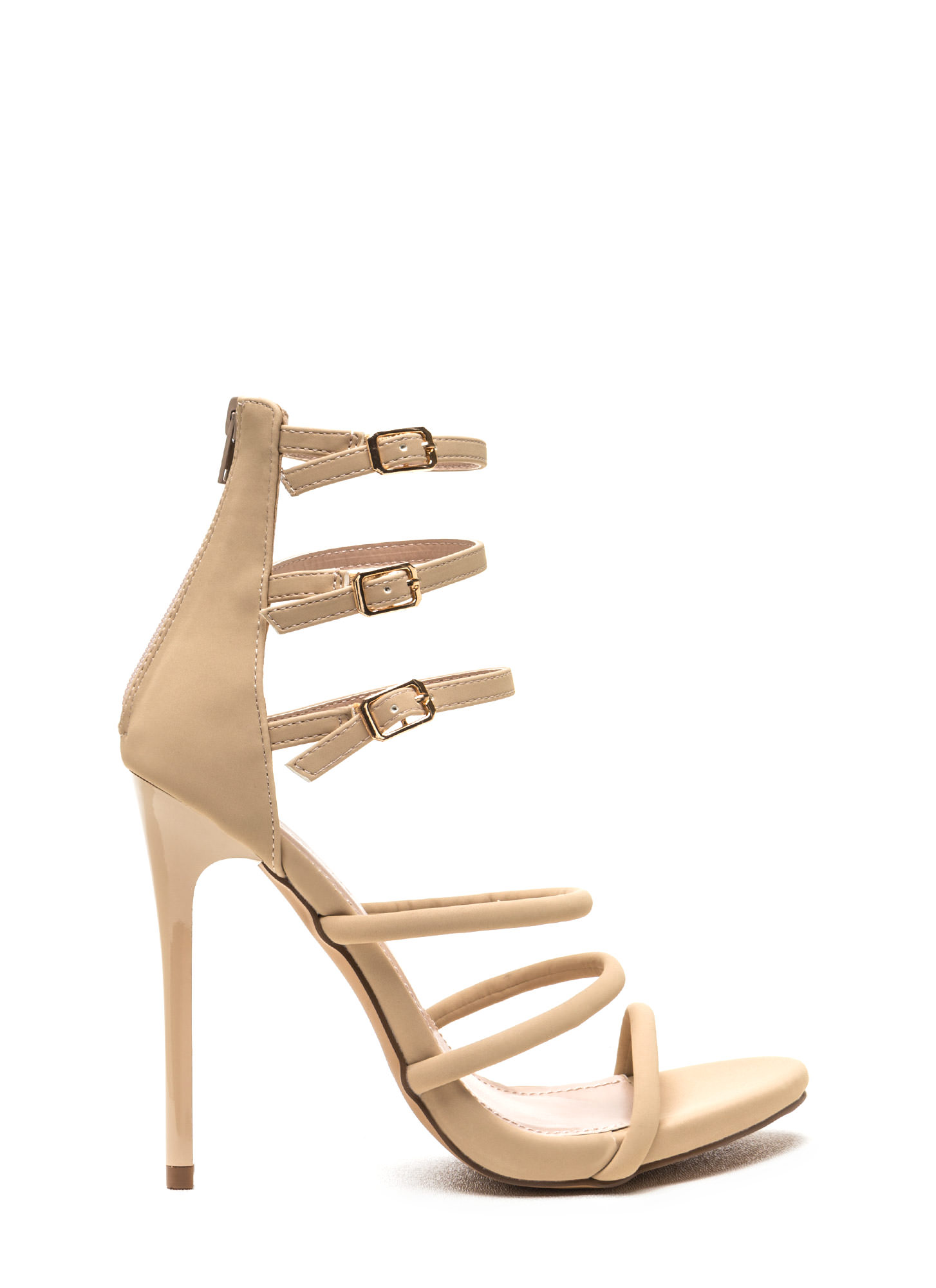 Six 'N Match Caged Faux Nubuck Heels NUDE