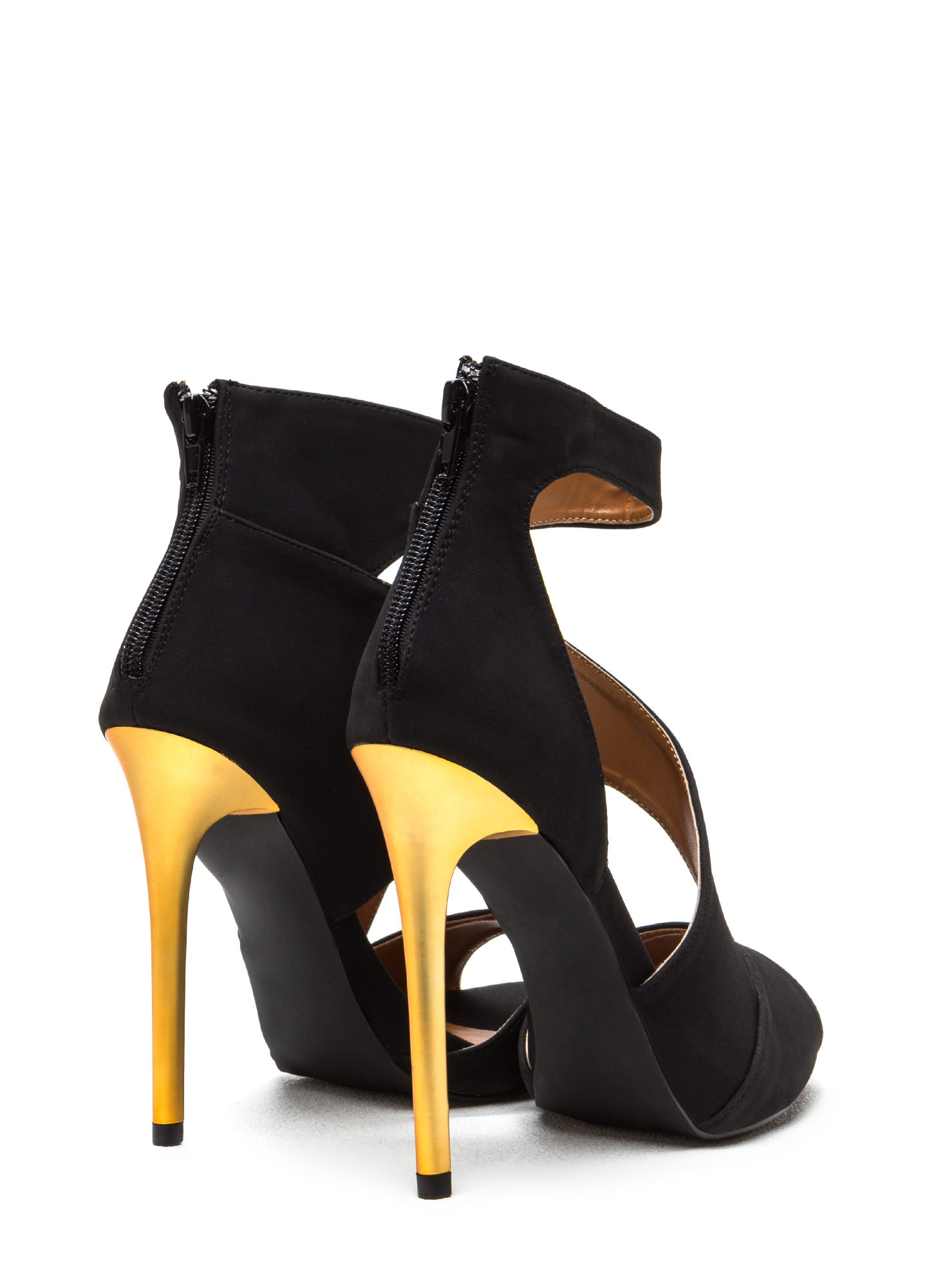 Sneak A Peek Cut-Out Faux Suede Heels BLACK