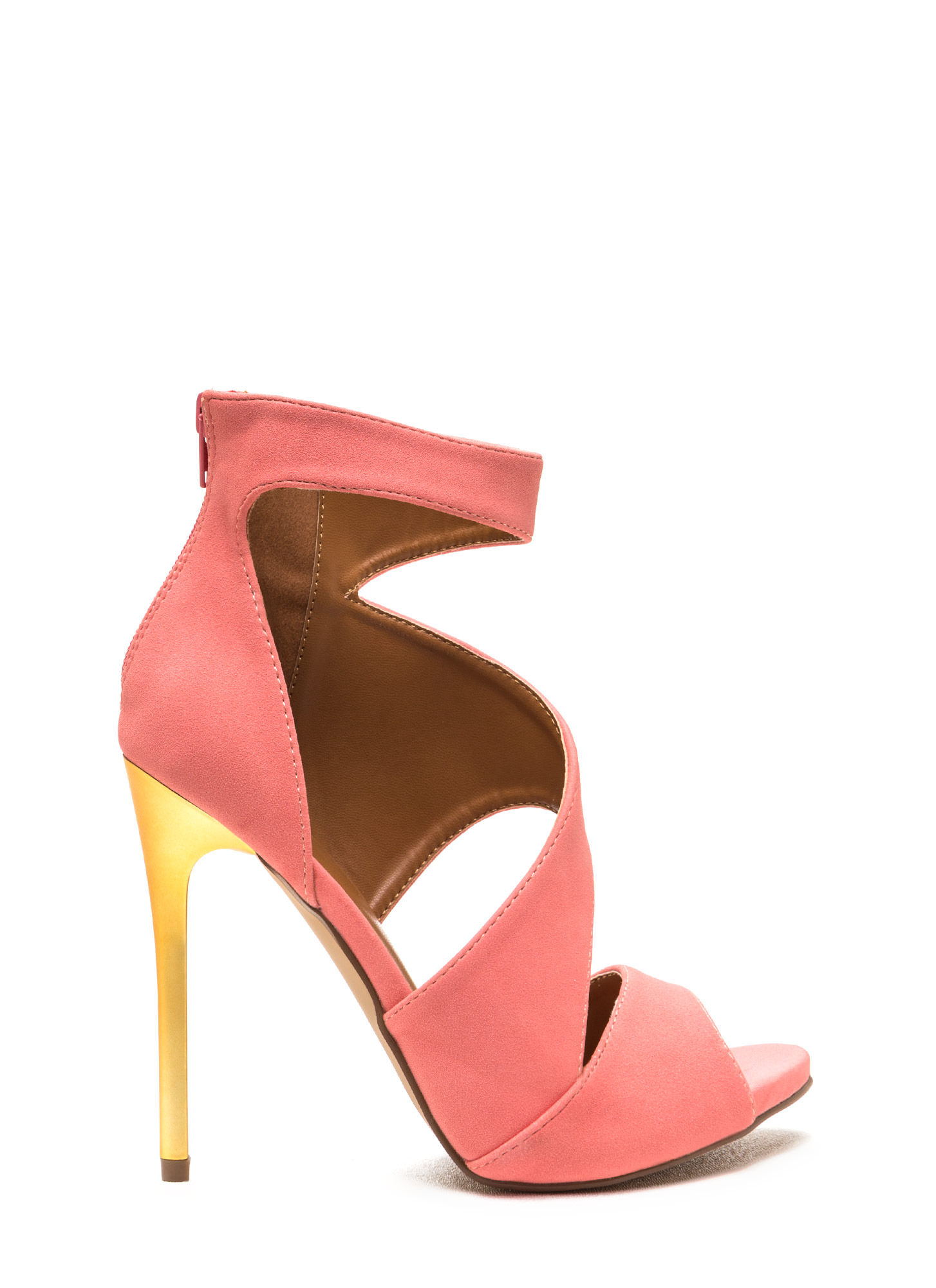 Sneak A Peek Cut-Out Faux Suede Heels BLUSH