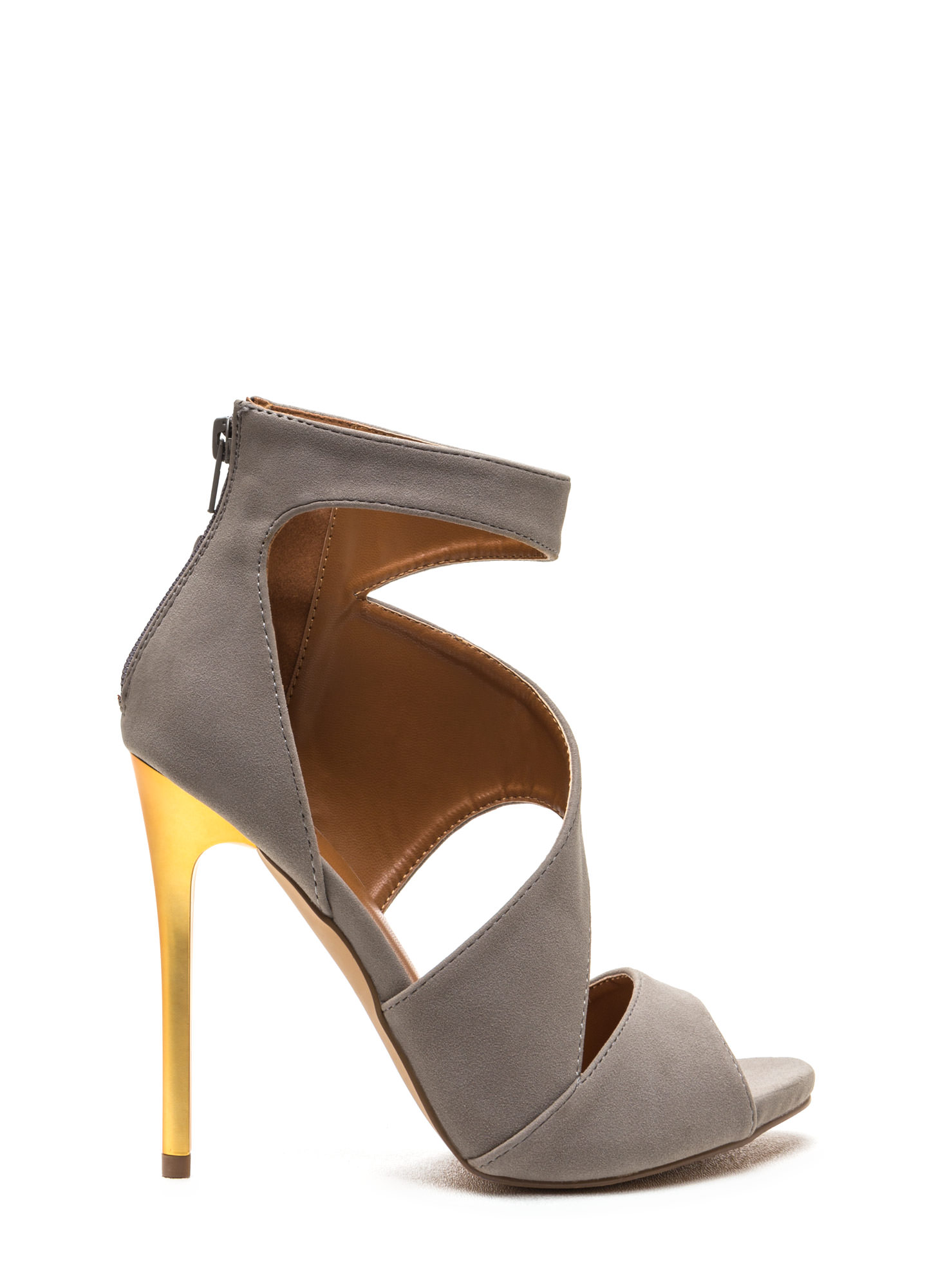 Sneak A Peek Cut-Out Faux Suede Heels GREY