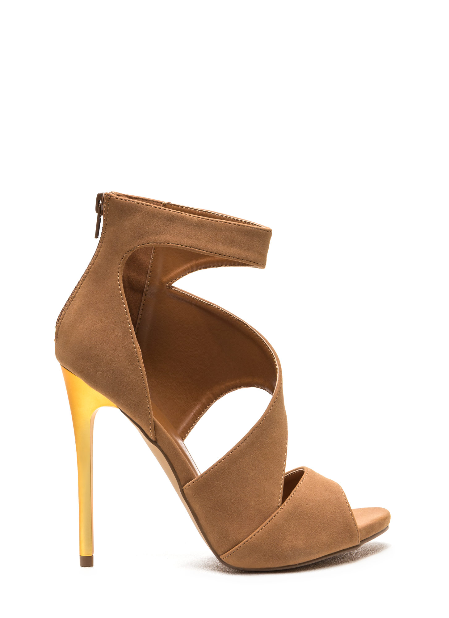 Sneak A Peek Cut-Out Faux Suede Heels MOCHA