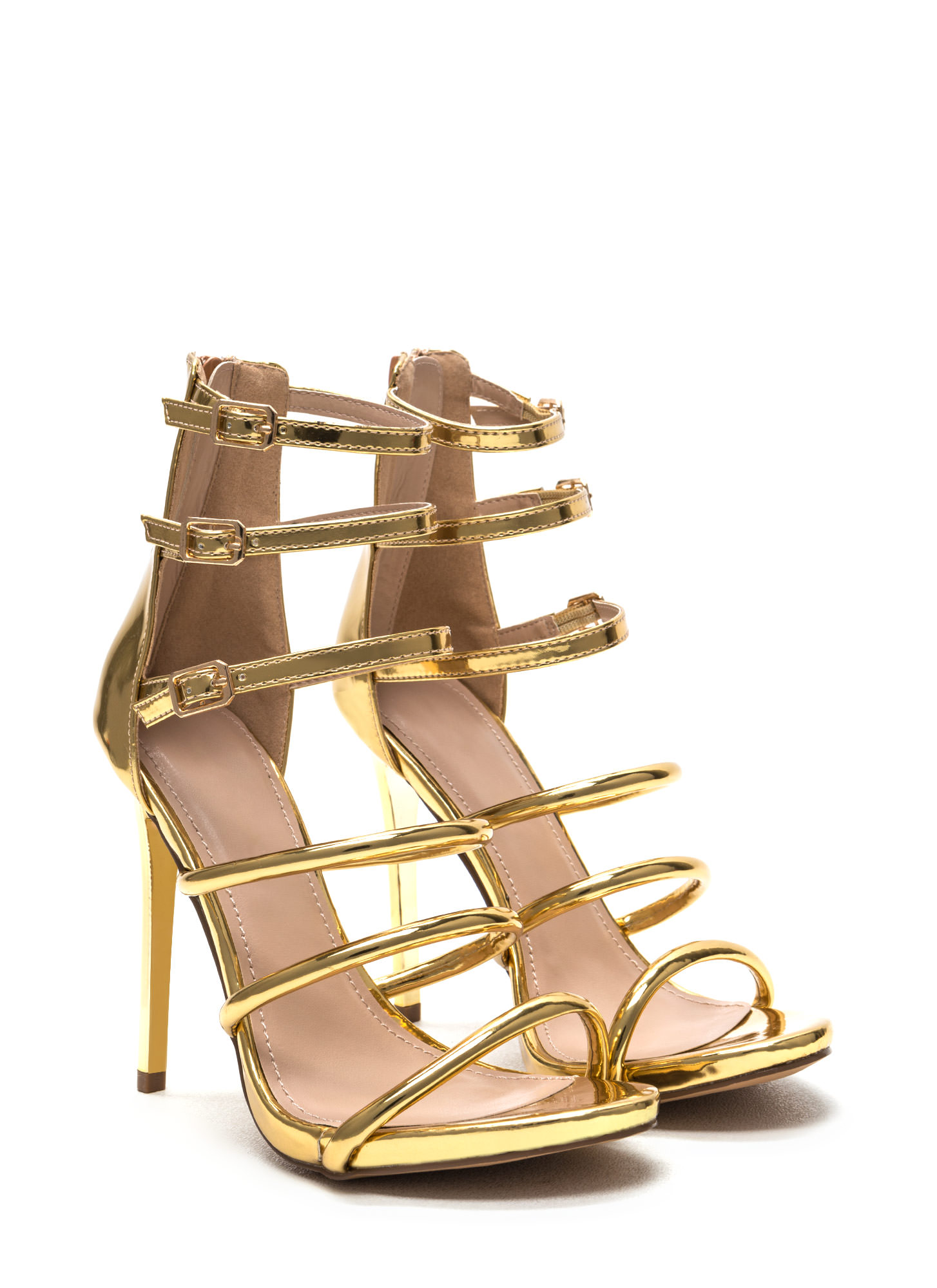 Six 'N Match Caged Metallic Heels GOLD