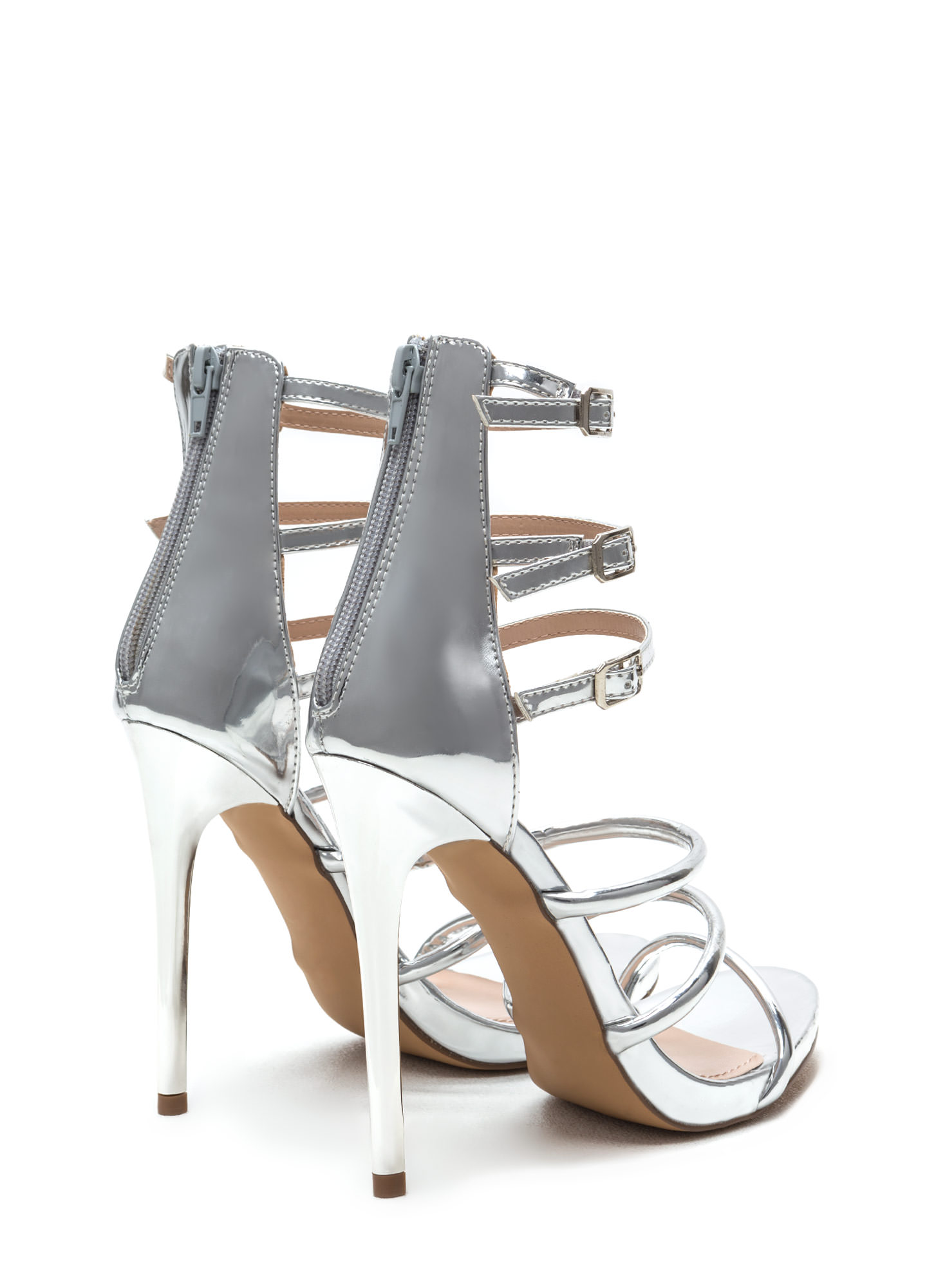 Six 'N Match Caged Metallic Heels SILVER