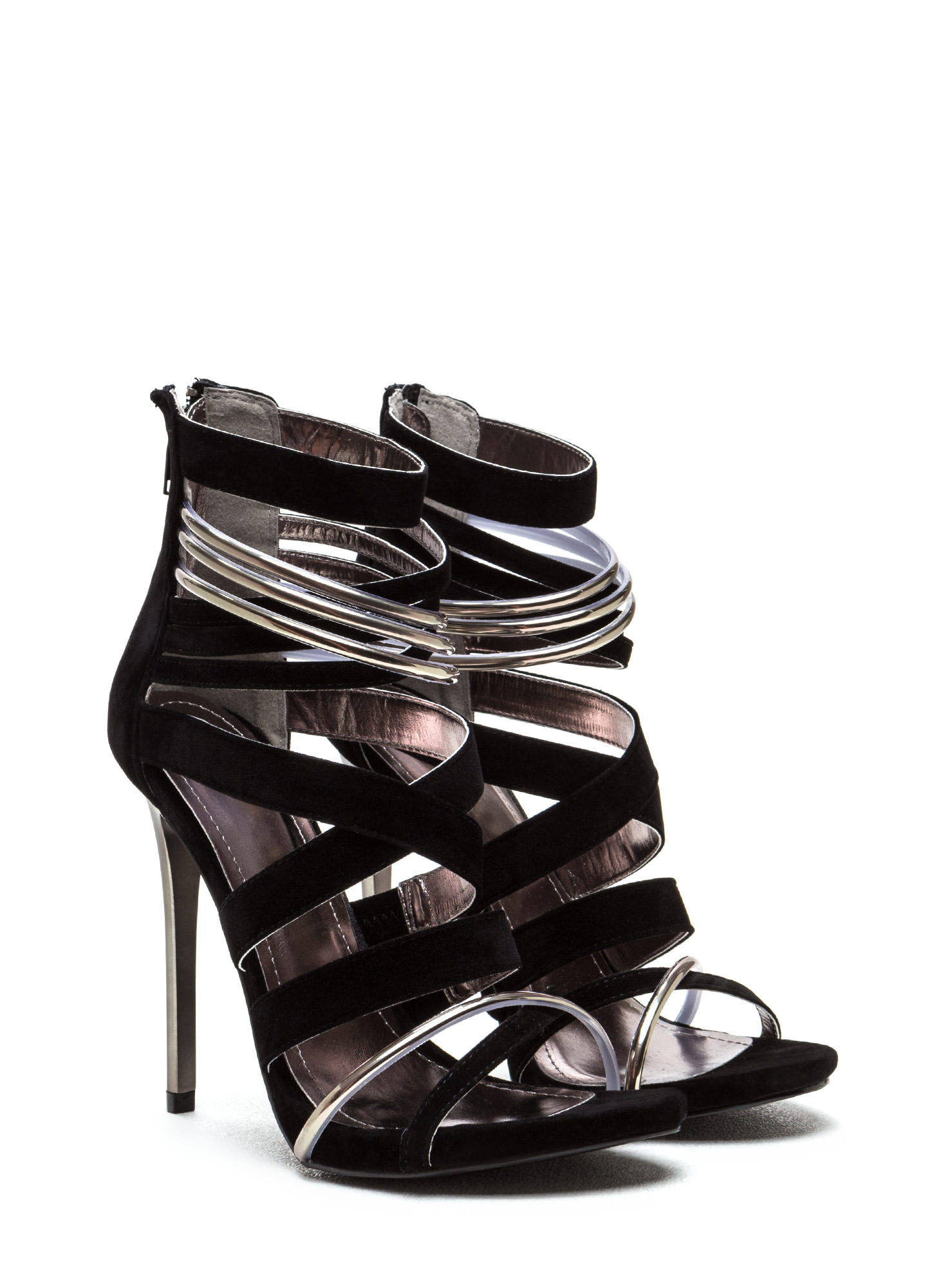 Night Show Strappy Caged Heels BLACK