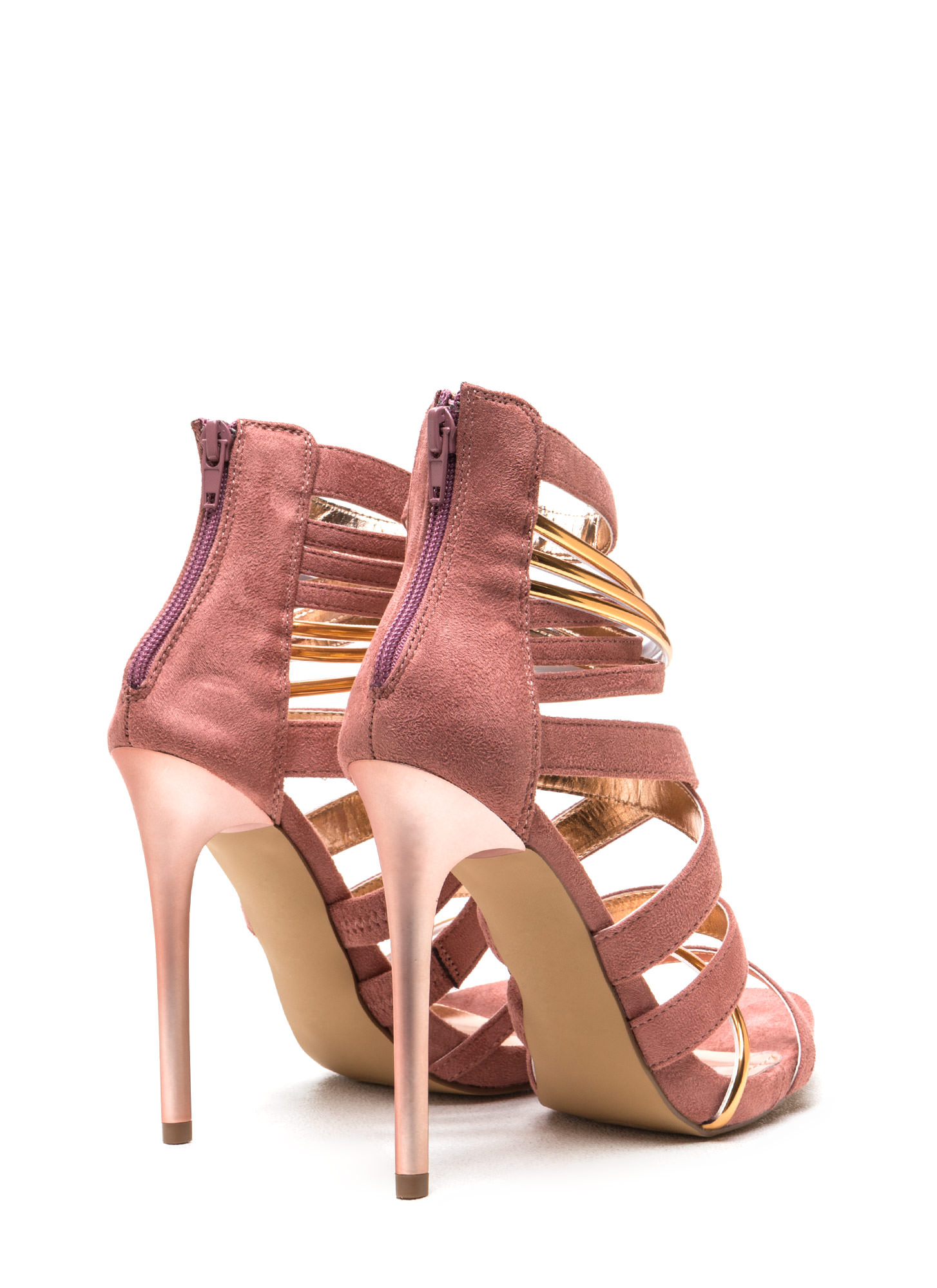 Night Show Strappy Caged Heels BLUSH