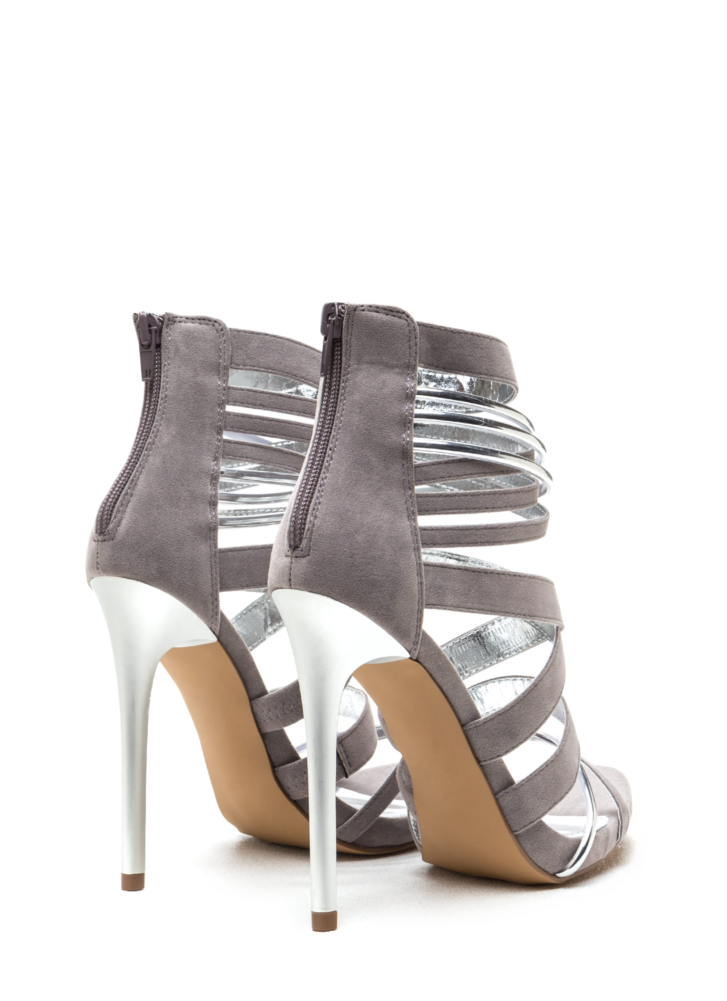 Night Show Strappy Caged Heels GREY