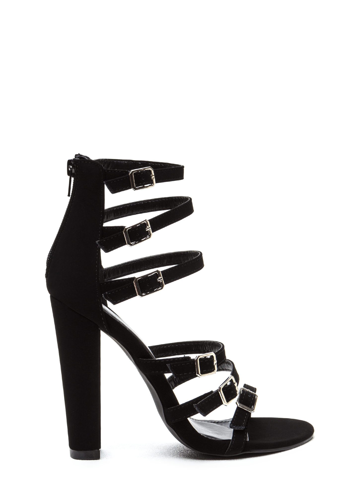 Right 'N Rung Strappy Chunky Heels BLACK