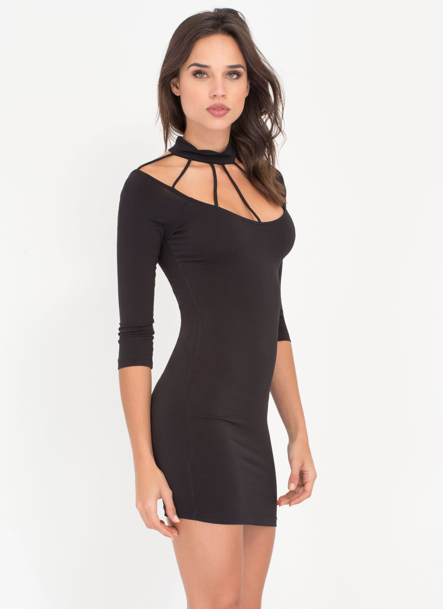 Cocktail Hour Caged Minidress BLACK