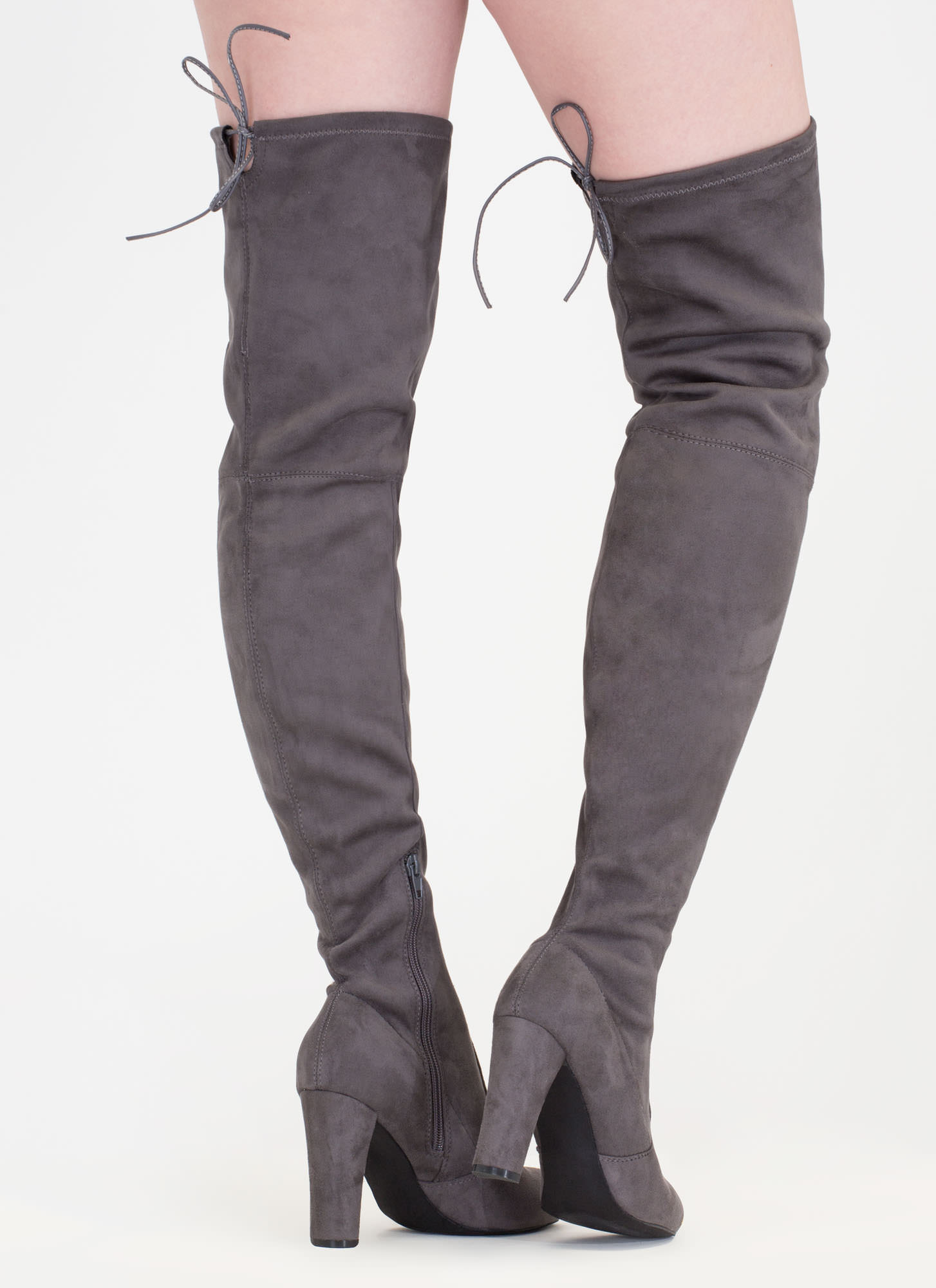 Drawstring Me Along Over The Knee Boots Taupe Black