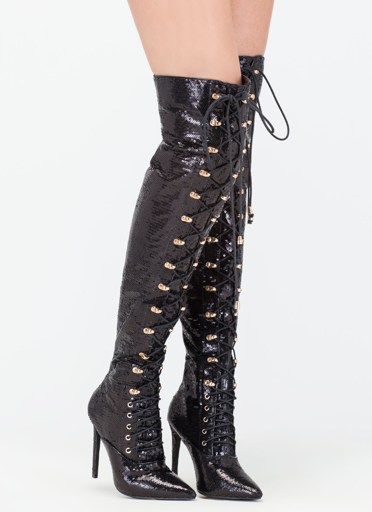 Create a totally glam look in some thigh-high boots paired with distressed skinny jeans, or wear them with a bodycon dress for your next night out with the girls.