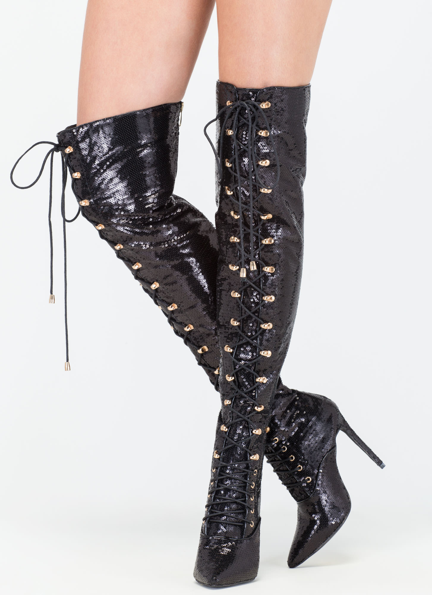 walk sequin thigh high boots black gojane