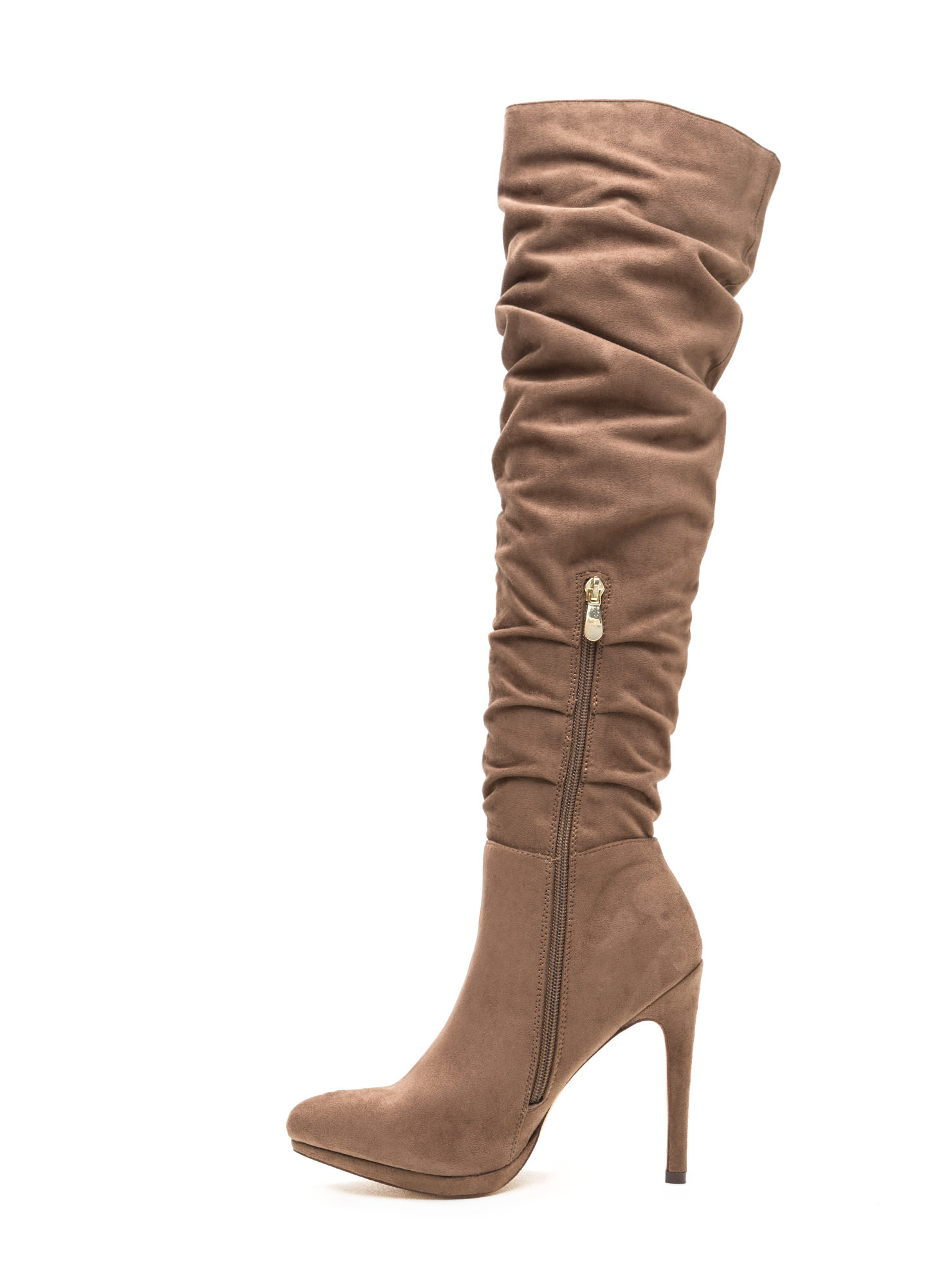 vip ticket slouchy thigh high boots taupe black