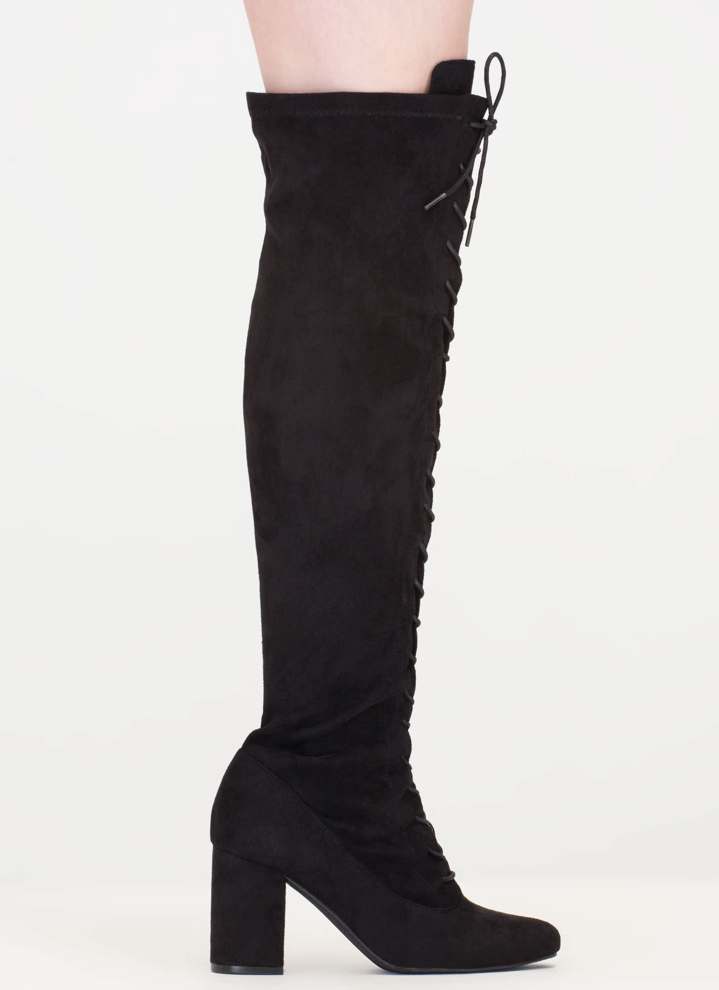 fierce chunky thigh high lace up boots taupe black