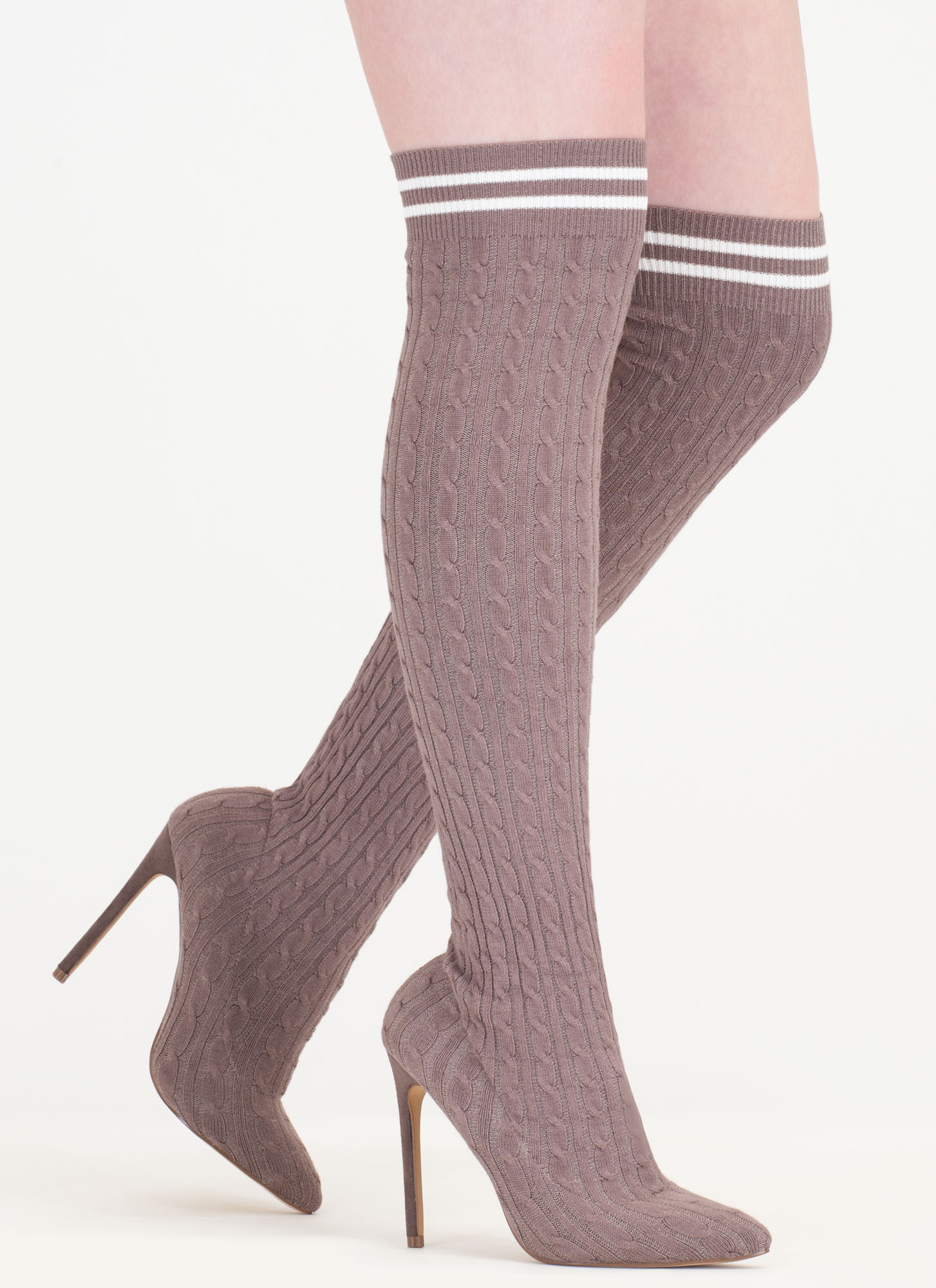 knit s a hit thigh high sock boots pink black grey olive
