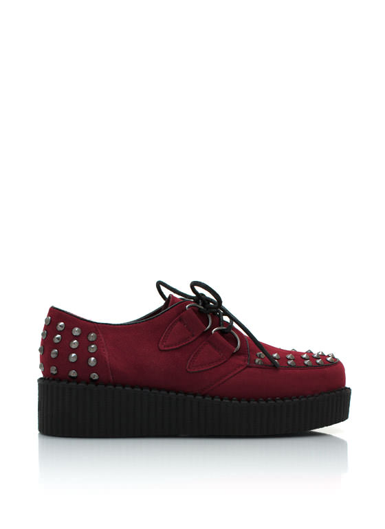 Spiked Faux Suede Creepers OXBLOOD