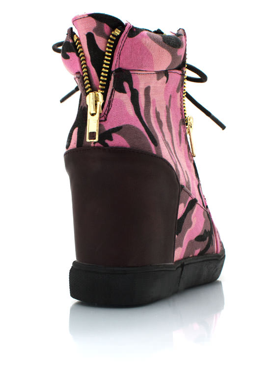 Camo Wedge Sneakers FUCHSIA