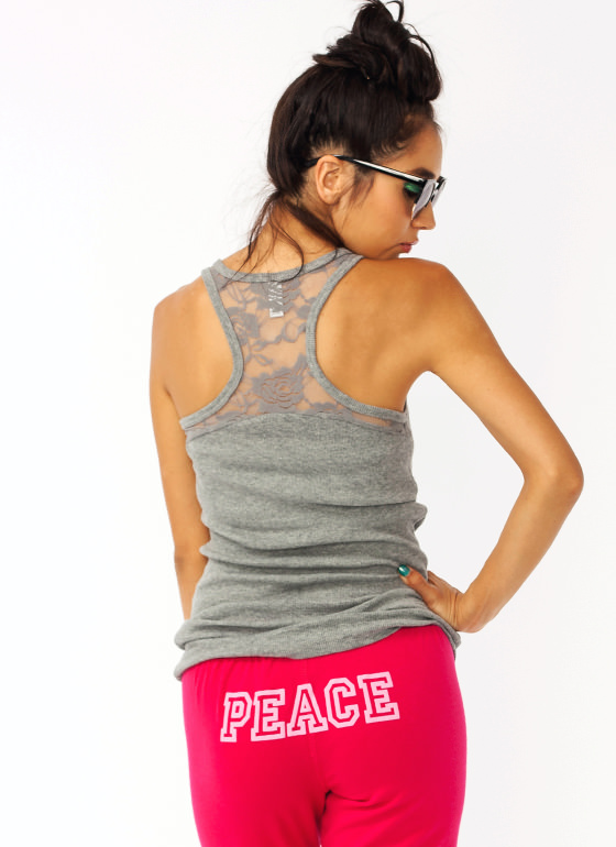 Lace Accent Racerback Tank HGREY