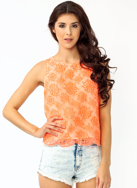 Embroidered Floral Button Tank NEONORANGE