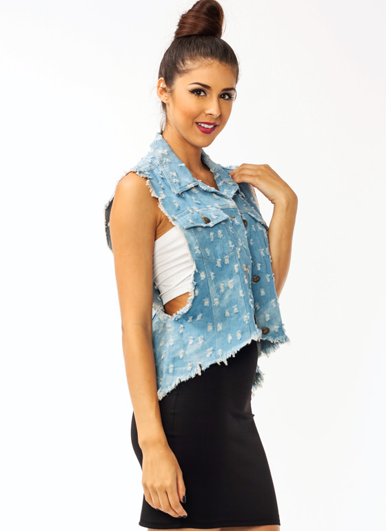 Distressed Denim Vest LTBLUE