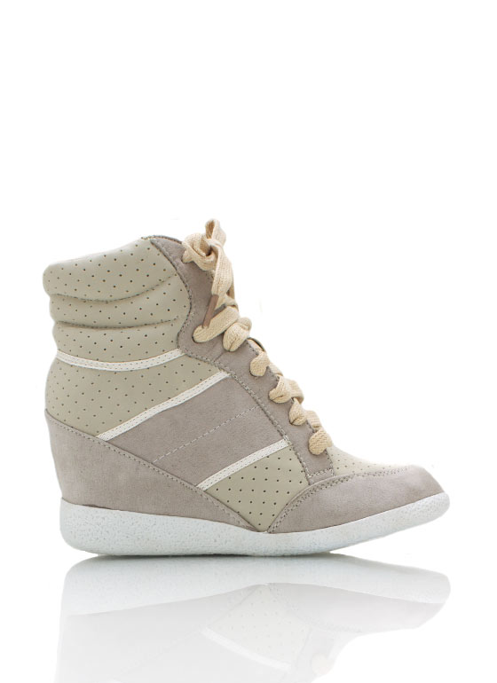 Lace Up Wedge Sneakers BEIGE