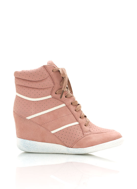 Lace Up Wedge Sneakers PINK