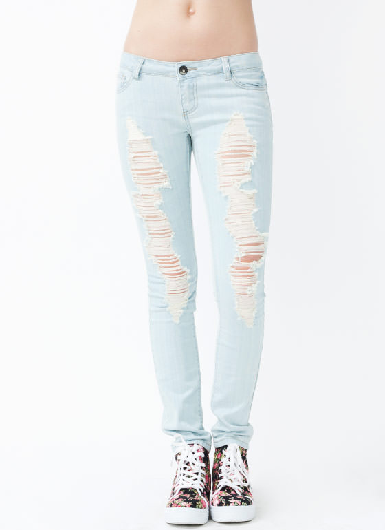 Distressed Skinny Jeans LTBLUE