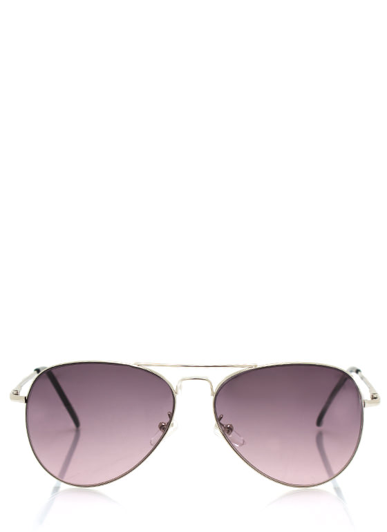 Aviator Style Sunglasses SILVERPURP