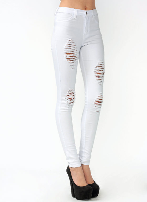 Distressed Skinny Jeans WHITE