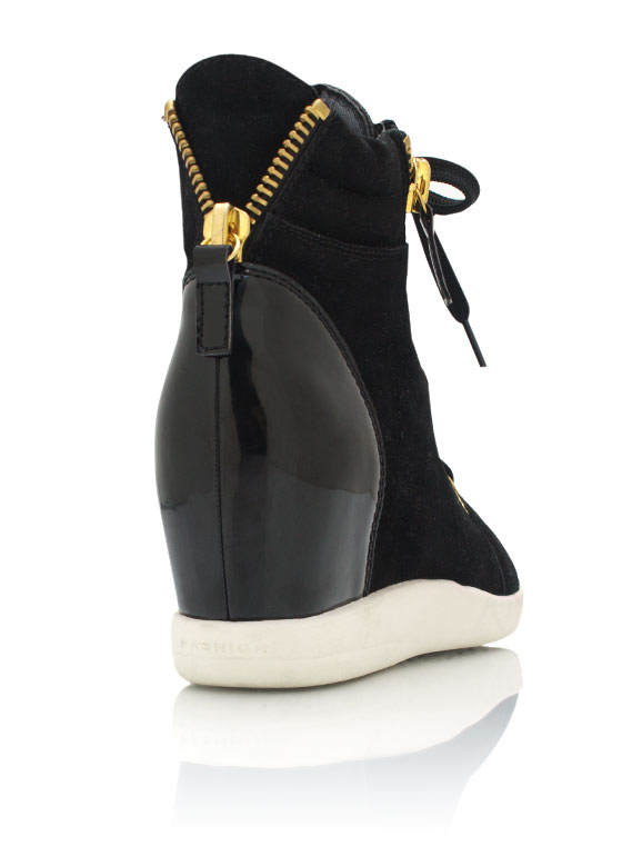 Cap Toe Wedge Sneakers BLACK