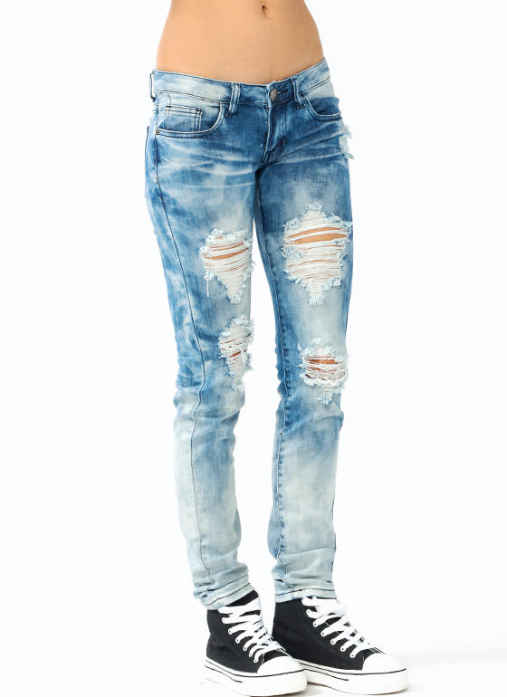 Destroyed Bleached Jeans LIGHTBLUE