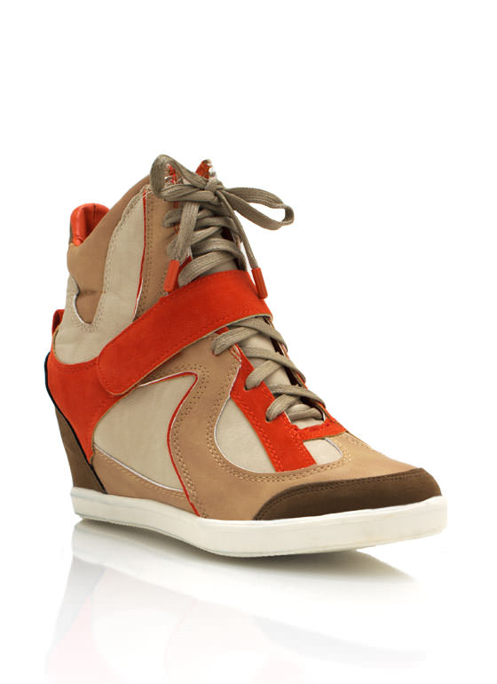 Lace Up Wedge Sneakers TAN