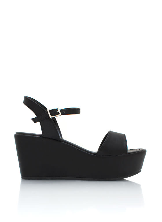 Faux Leather Wedge Sandals BLACK