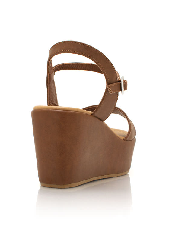 Faux Leather Wedge Sandals TAN