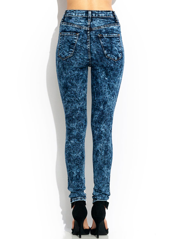 Distressed Acid Wash Jeans DKBLUE (Final Sale)