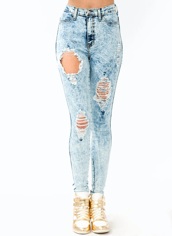 Distressed Acid Wash Jeans LTBLUE