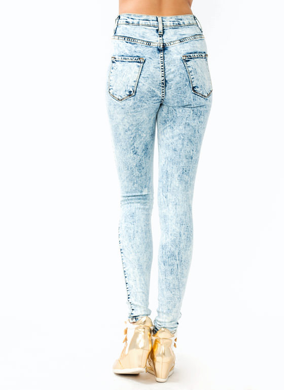 Distressed Acid Wash Jeans LTBLUE (Final Sale)
