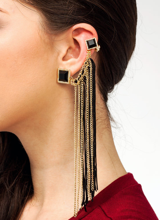 Chain Tassel Ear Pin Set BLACKGOLD