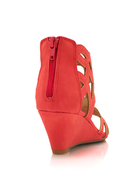 Cut Out Wedge Sandals CORAL