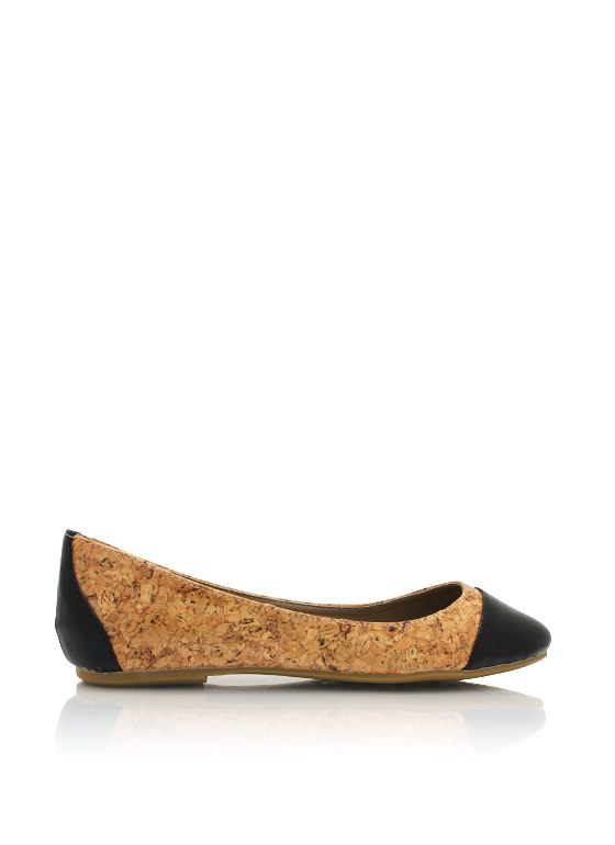 Cork Cap Toe Flats BLACK