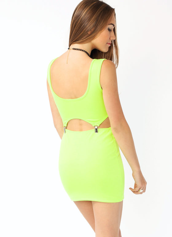 Cut Out Buckle Dress LIME