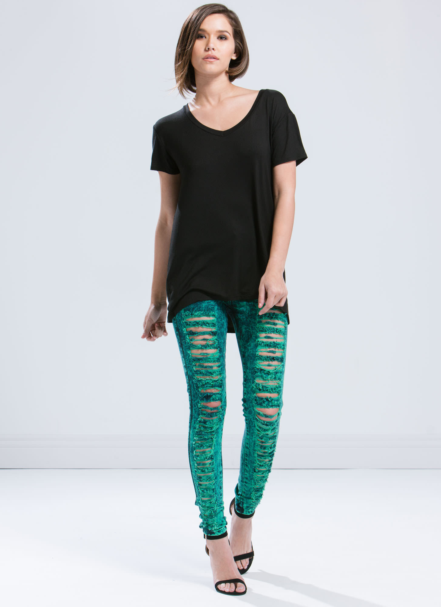 High-Waisted Distressed Jeans JADE