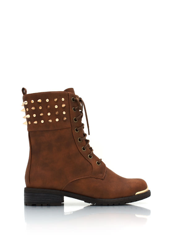 Spiked Combat Boots WHISKY