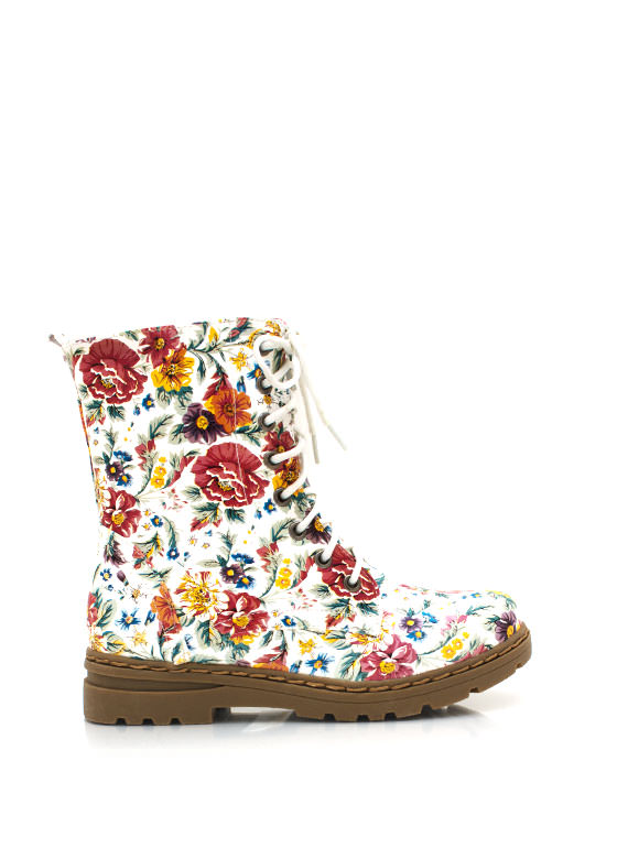 Floral Print Combat Boots RED