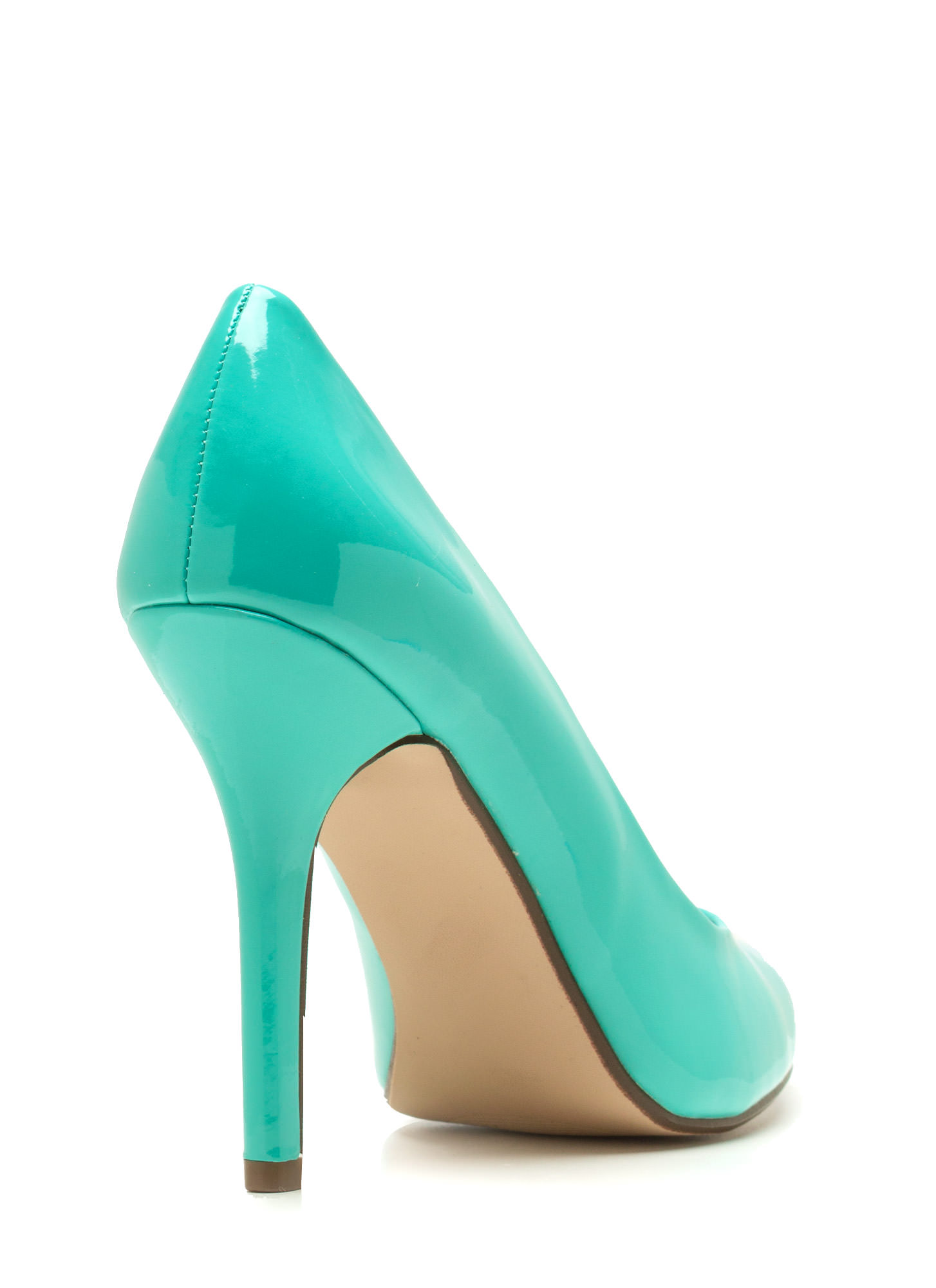 Pointy Toe Faux Patent Pumps AQUA