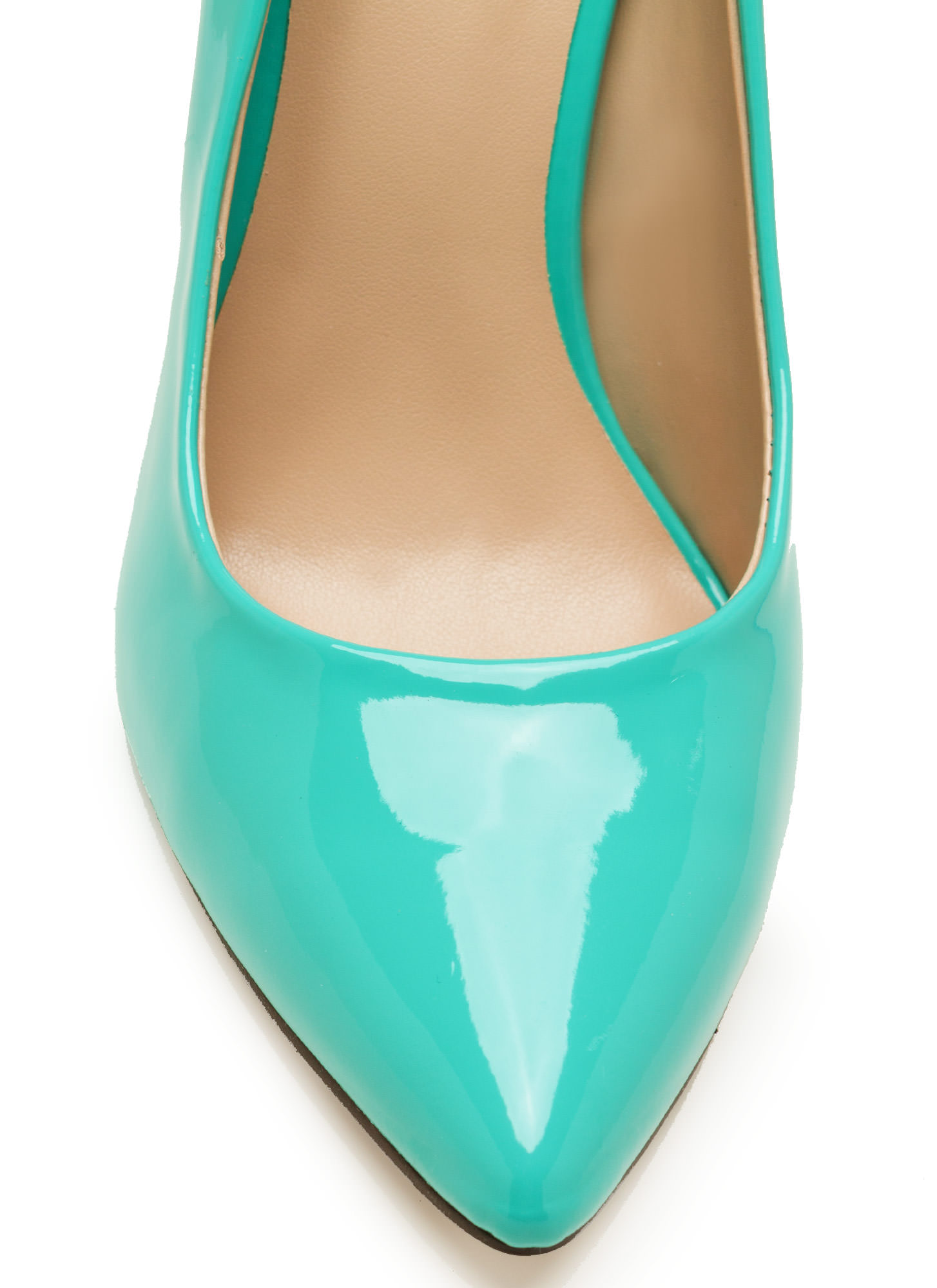 So Refined Pointy Faux Patent Pumps AQUA