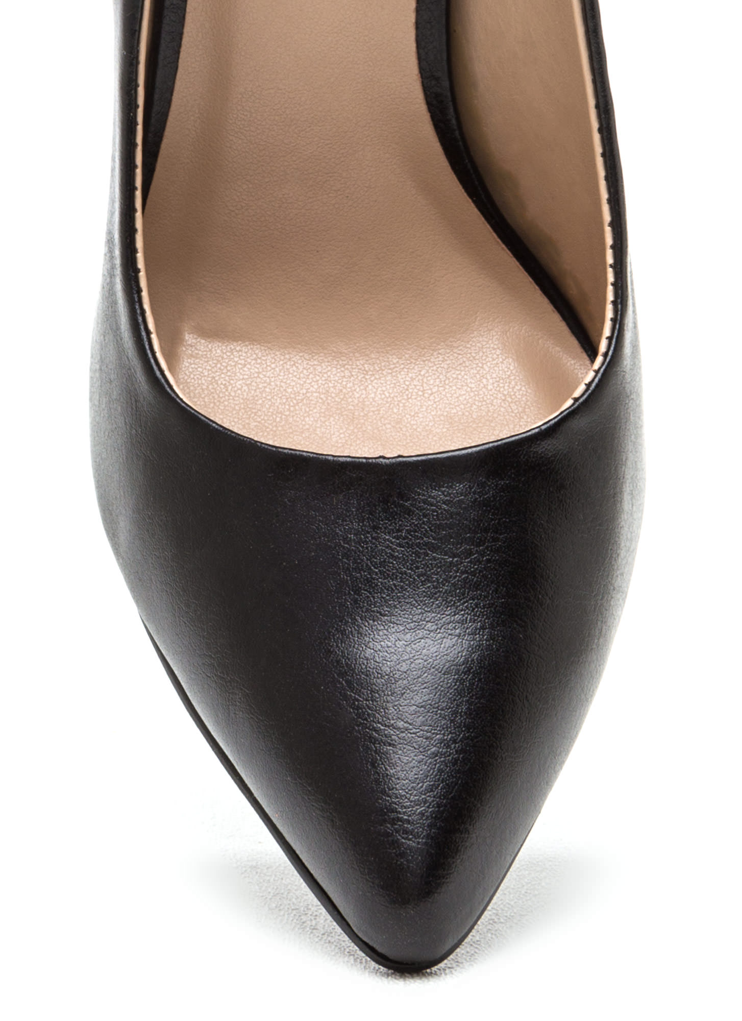 Pointy Toe Faux Patent Pumps BLACK