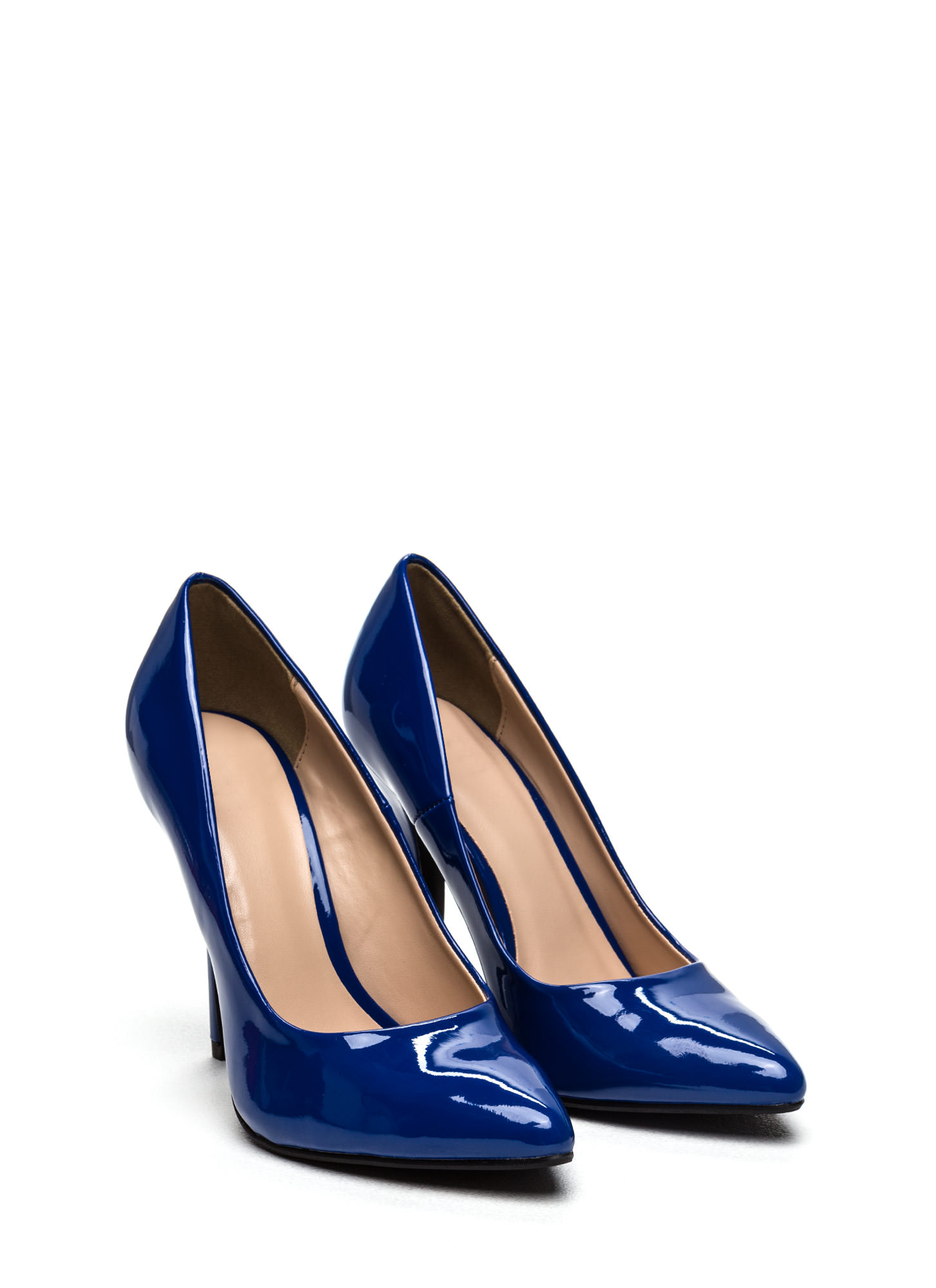 So Refined Pointy Faux Patent Pumps BLUE