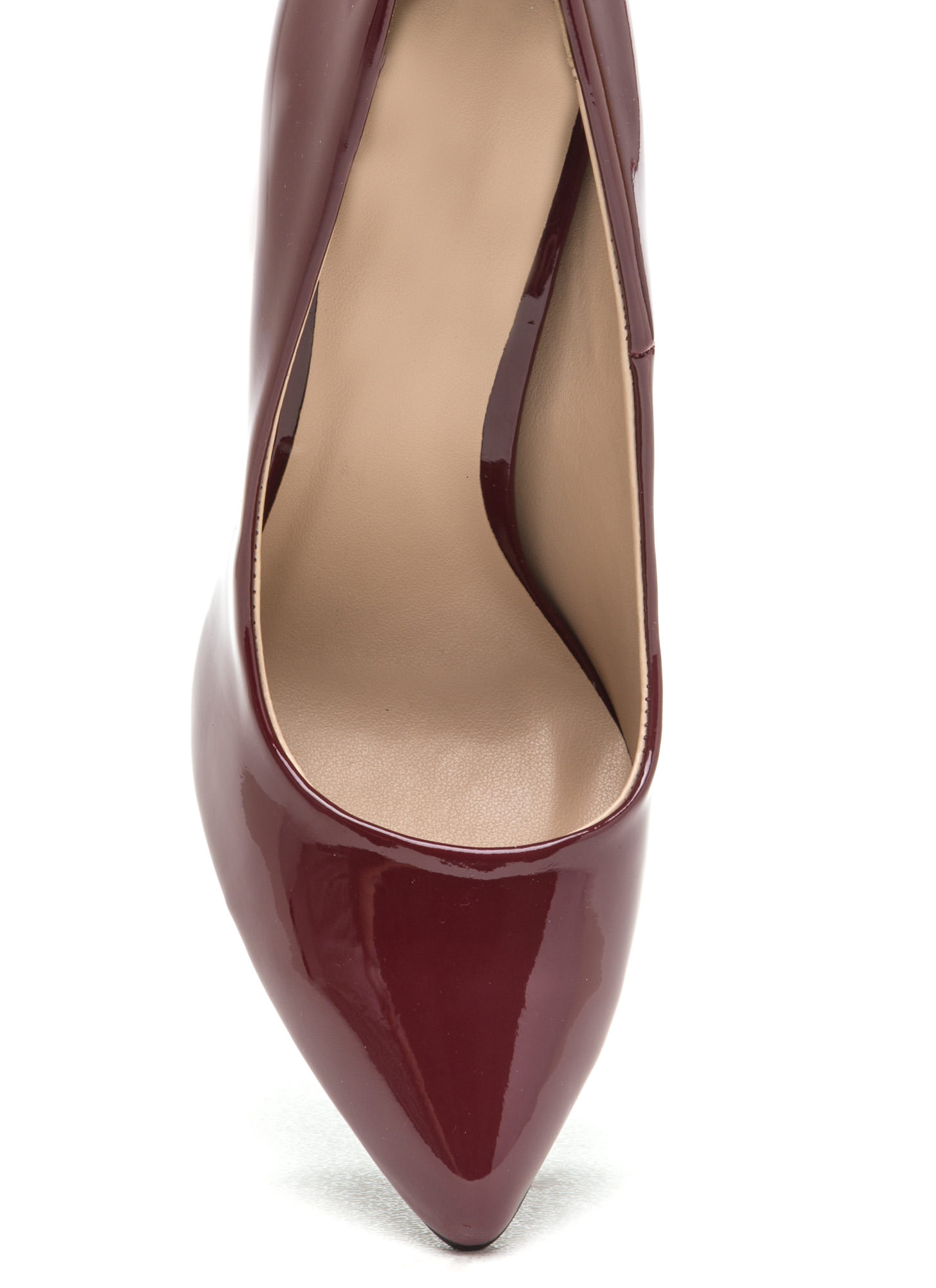 So Refined Pointy Faux Patent Pumps BURGUNDY