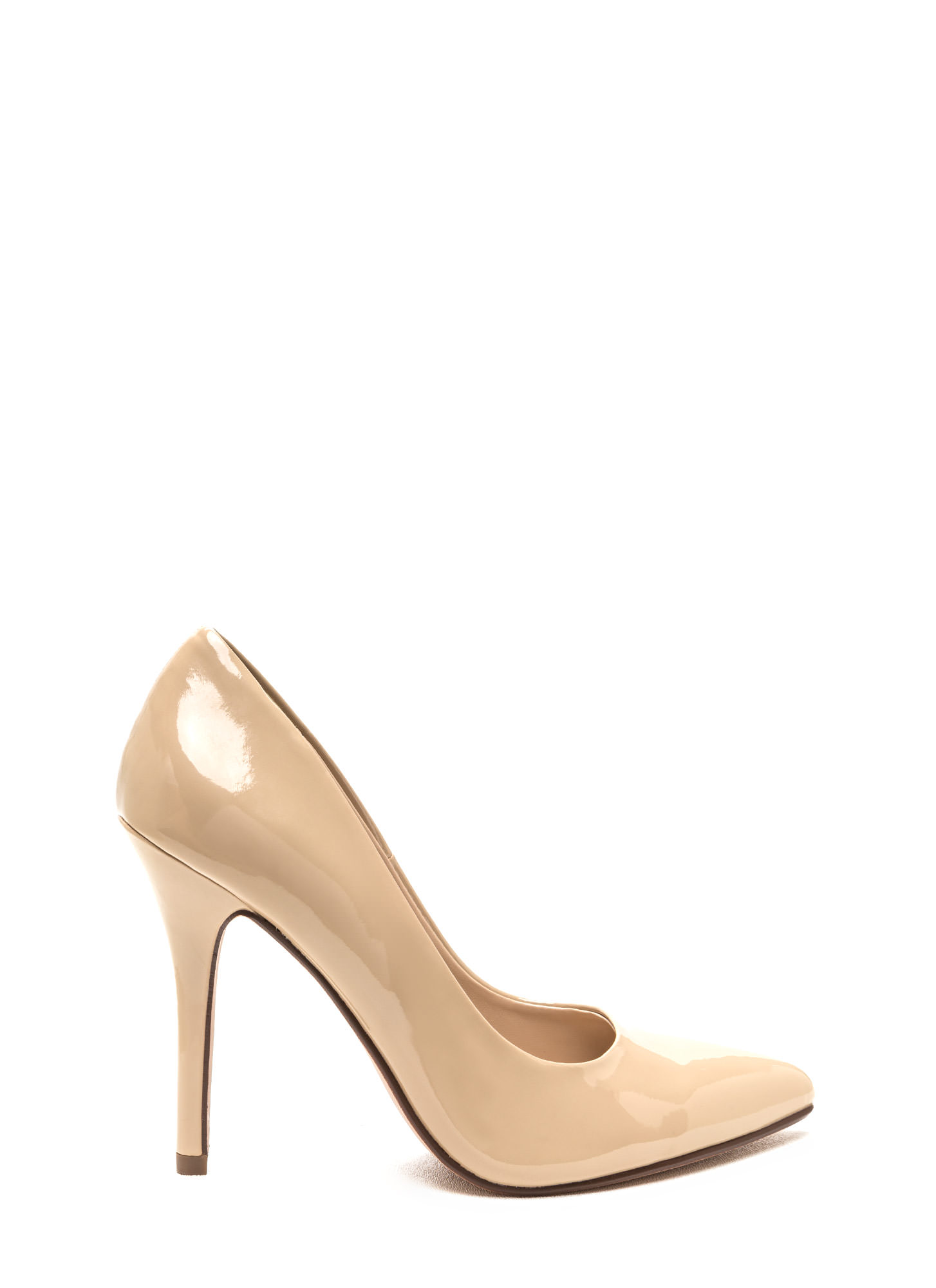 So Refined Pointy Faux Patent Pumps DKBEIGE